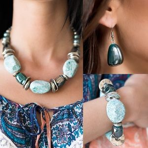 Turquoise Rock Necklace Set